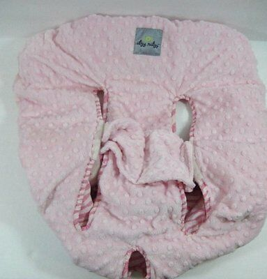 Pink Minky Dot & Stripes SHOPPING CART & HIGH CHAIR COVER Itzy Ritzy B414