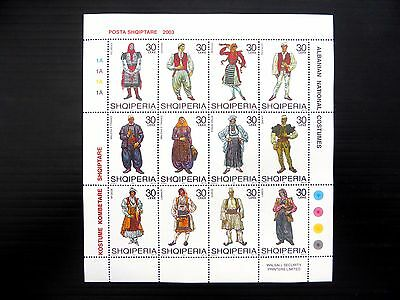 ALBANIA 2003 Costumes Sheetlet of 12 FP9599