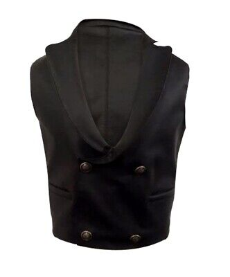 Men Steampunk Vest Black Leather Heavy Duty Gothic Waistcoat