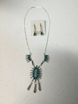 Zuni Native American Turquoise NeedlePoint Necklace & Earring Set Gerald Etsnto