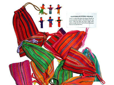 Worry Doll - 6 X MINI WORRY DOLLS in TEXTILE BAG - BULK  x 10 Bags