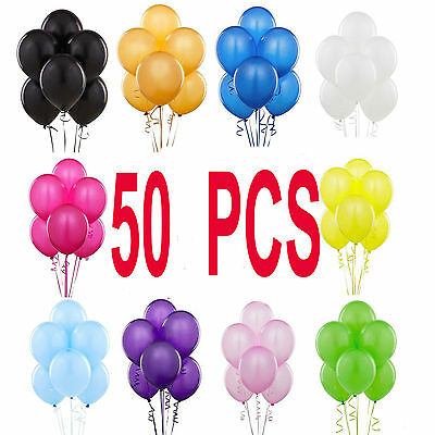 50 PCS Latex BALONS LARGE Helium Quality Party Birthday Wedding Balloons baloon
