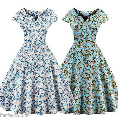 e37998d1777 Plus Women 1950s Vintage Retro Butterfly Cocktail Formal Prom Pinup Swing  Dress