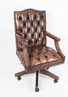 Bespoke English Handmade Gainsborough Leather Desk Chair Smoke Brown