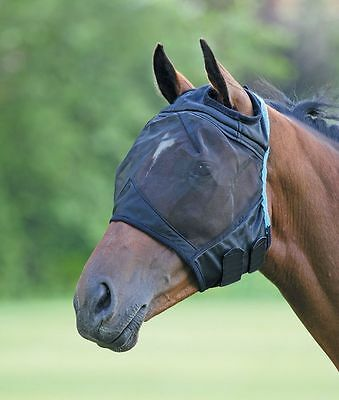 Shires Fine Mesh Fly Mask With Ear Holes - Black 6653E