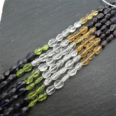 "Multi Stone 5 Colour Faceted Oval Beads 15"" Strand Semi Precious Gemstone"