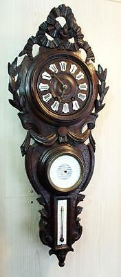 Large antique French wall regulator circa 1880 carved in louis 16 style