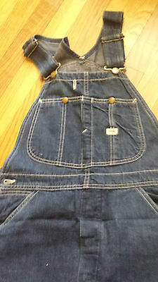 Vintage MENS Lee 34W 31L Bib Overalls USA Button JELT Blue Denim 50's rockabilly