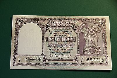 """1962(ND) India, Reserve Bank of India 10 Rupees P-40b """"P.C. Bhattacharya"""" Signed"""