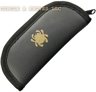 SPYDERCO KNIFE TRAVEL CASE - CHOSE LARGE or SMALL BLACK SYNTHETIC LEATHER POUCH