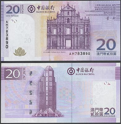 Macau 20 pacatas (2008) P109 UNC B214a Bank of China