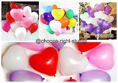 "100 X Quality 10"" Red Baloons Heart Balloons Balons Helium Or Air Latex  Party"