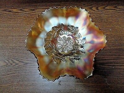 Vintage Dugan Cosmos Variant Pattern Ruffled Carnival Glass Bowl