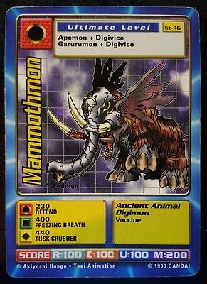 MAMMOTHMON St-46 + SKULLMAMMOTHMON Bo-40 - 1ST EDITION Digimon Cards - EXC/NM