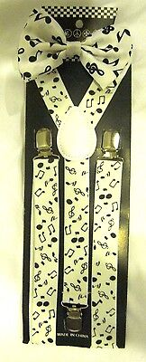 White Black Musical Notes Adjustable Bow Tie+ Matching Music Suspenders Combo