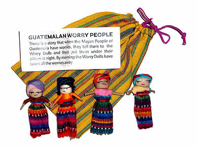 Worry Doll - 4 x BIG WORRY DOLLS in TEXTILE BAG - Yellow