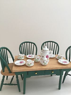 Dolls house Miniature GREEN  TABLE & CHAIRS SET with Tea Set 1:12 Streets Ahead