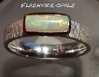 "EDLER GEM OPAL-SILBER/GOLD RING ""Gold-Orange-Grün"" GR: 58 FLASHFIRE-OPALS"