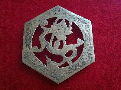 Antique Vintage Brass Dragon Trivet/ Great Etchings/ Stamped China