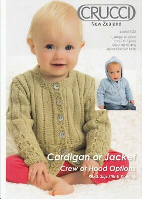 Crucci Knitting Pattern 1423, Baby Cardigan or Jacket, Crew or Hood, For 4 Ply W