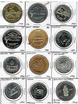 Lot of 50 different Trade Token Medal $1  $2 $5 all provinces Canada
