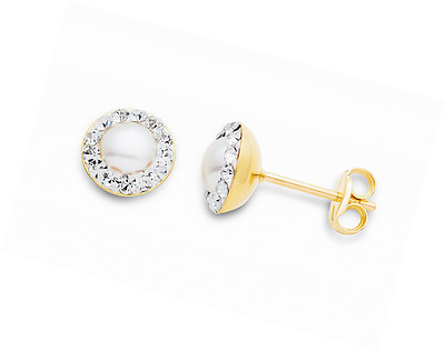 Miore women's 9ct Yellow Gold Pearl and Swarovski Elements Stud Earrings MA9072E