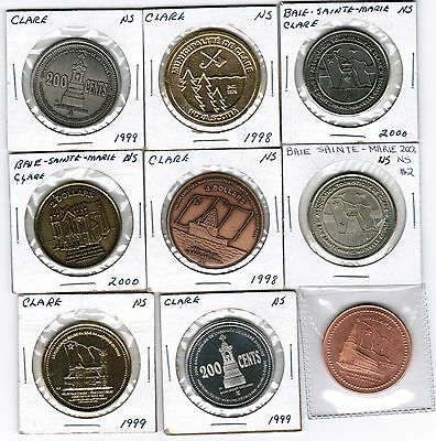 Lot of  9 Claire Baie Sainte Marie NS  Trade Tokens $4 $2 $5 BOAT LIGHTHOUSE