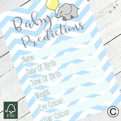 Baby Shower Baby Boy Prediction Cards Games Boy Blue Activity Party Game 15