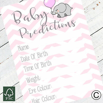 Baby Shower Baby Girl  Prediction Cards Games Girls Pink Activity Party Game 15