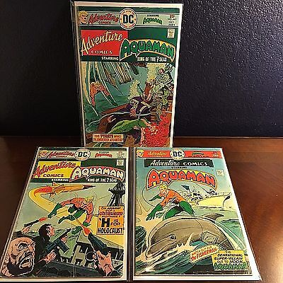 Adventure Comics AQUAMAN 3 Comic Book Lot # 441 443 444 VG (DC Bronze Age Movie)