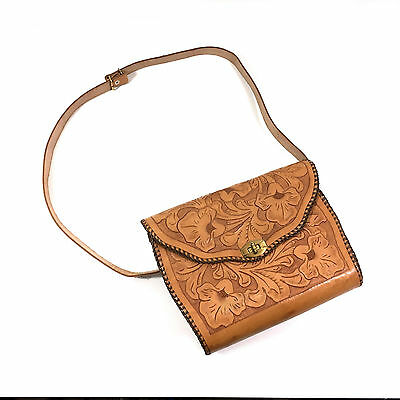 Tooled Leather Crossbody Purse / Bag with Flower Design, Vintage?