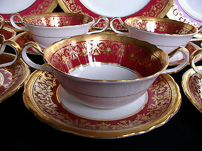 AYNSLEY KENILWORTH RED #7023 (1930's)- SOUP BOWL  & SAUCER (s)- ENCRUSTED GILT!