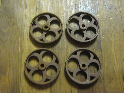 matched set Engine Cart Wheels Hit & Miss 6 Inch Front Truck Cast Iron ornate
