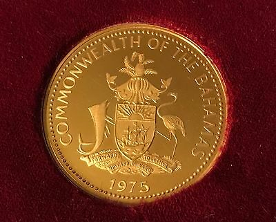 RARE Gold 100 Dollar 1975 Bahamas Coin Only 3,694 Struck 2nd Ann Independence