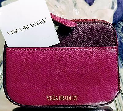 Vera Bradley NWT Leather Zip Card Case in Plum Leather Free Shipping