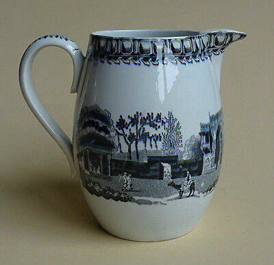 Antique Leeds Pearlware English Pottery Creamer Pitcher Jug Black Transferware