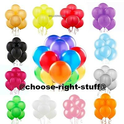 100 METALLIC/Pearlised Quality LATEX BALLOONS Decoration Birthday Baloons Party
