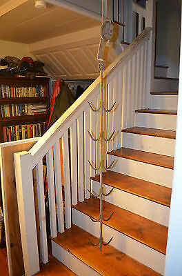 Vintage Industrial Butcher's Rack with 12 Hooks Meat Hooks for Trolley