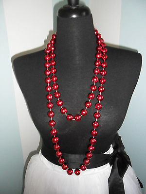 "Handmade Red Metallic Plastic Bead Necklace 67"" Mardi Gras St. Patrick's Day NEW"