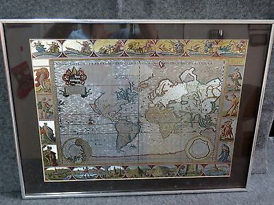 RARE Able Art Metal Work 17th Century (1680) English Map of the World - EUC