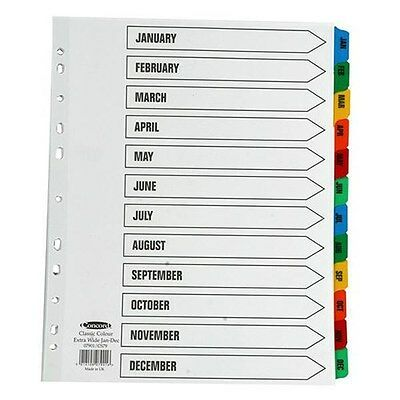 2 x Jan-Dec Month A4 Card Index Dividers Ring Binder Tabbed White Subject File