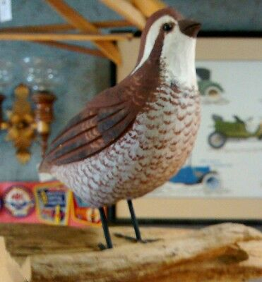 North American Bobwhite Quail bird hand carved and painted sculpture