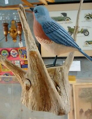 Eastern Bluebird hand carved and painted sculpture