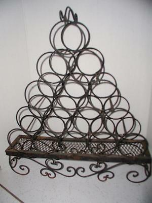 Vintage 70's Black WRought Iron 15 bottle Wine Rack Gothic Old World Hand Made