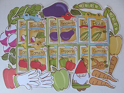 36 Garden Assorted Tags Pockets - Peas Carrots Tomatoes Buy 2 paks get 1 Free!