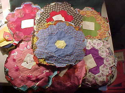 Old Vintage Lot of 90 Quilt Block Pieces, Hexagon, Hand Sewn