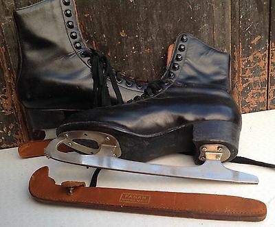 Vintage black Fagan Czechoslovakian ice skates with Sheffield steel blades