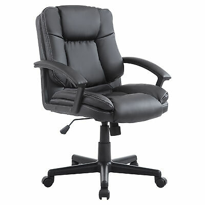HOMCOM Executive Office Chair Computer Racing Swivel Adjustable PU Leather Black