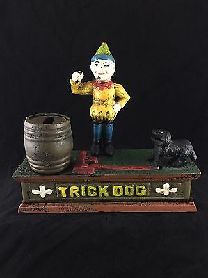 Vintage Cast Iron Mechanical Trick Dog & Circus Clown Bank~Working Condition