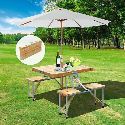 Summer Clearance Wooden Junior Dining Picnic Table Chair Set Portable Folding